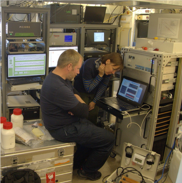 Scientists monitoring the measuring equipment